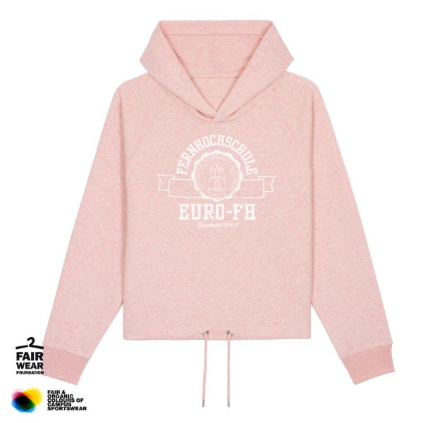 Damen Croped Hooded Sweatshirt, cream heather pink, gap