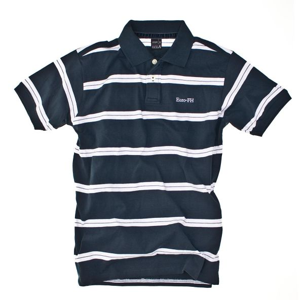 Herren Striped Poloshirt, navy/white, corporate